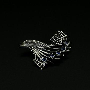 Серебряная брошь Букет (фианит синий)