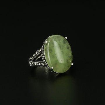 Серебряное кольцо (флюорит, марказит)