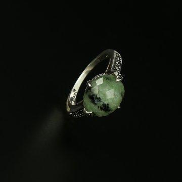 Серебряное кольцо (пренит, марказит)