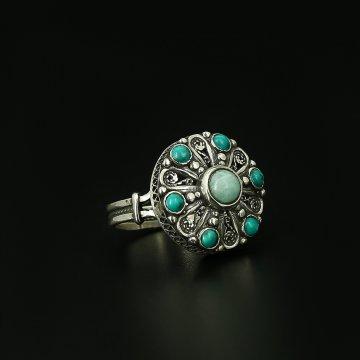 Серебряное кольцо (амазонит, бирюза)