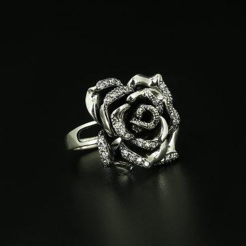 Серебряное кольцо Роза (циркон)