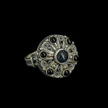 Серебряное кольцо (лазурит, агат)