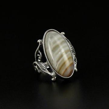 Серебряное кольцо (агат рисунчатый)