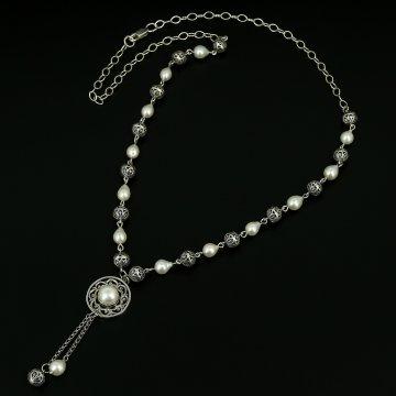 Кубачинское серебряное колье с филигранью ручной работы (камень - жемчуг)