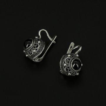 Серебряные серьги (гранат)