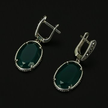 Серебряные серьги (агат, марказит)