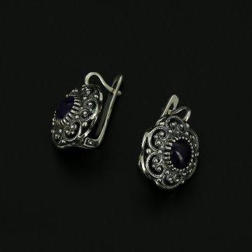 Серебряные серьги (аметист)