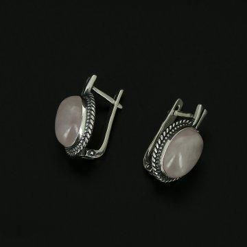 Серебряные серьги (розовый кварцит)
