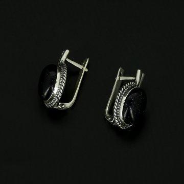 Серебряные серьги (авантюрин)
