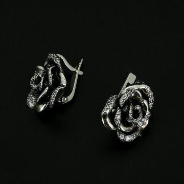 Серебряные серьги Роза (циркон)