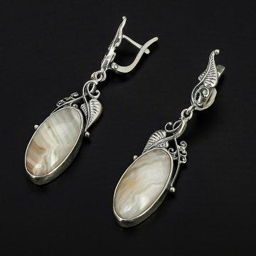 Серебряные серьги (агат рисунчатый)