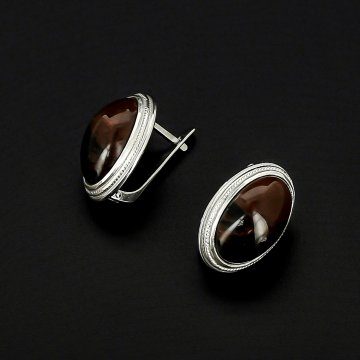 Серебряные серьги (обсидиан)