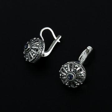 Серебряные серьги (лазурит)