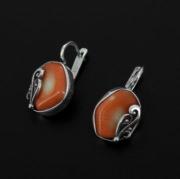 Серебряные серьги (коралл)