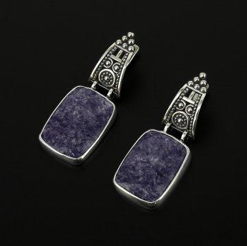 Эксклюзивные серебряные серьги (чароит)