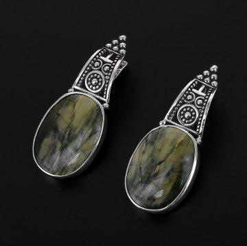 Эксклюзивные серебряные серьги (яшма)