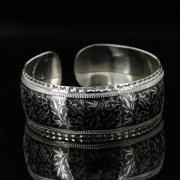 Серебряный кубачинский браслет с алмазной гранью арт.11060