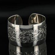 Серебряный кубачинский браслет с гравировкой арт.11102