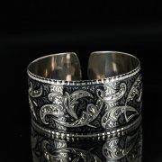 Серебряный кубачинский браслет с чернением арт.11105