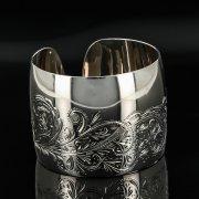 Серебряный кубачинский браслет с гравировкой арт.11108