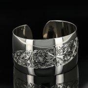 Серебряный кубачинский браслет с гравировкой арт.11109