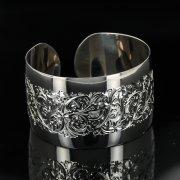 Серебряный кубачинский браслет с гравировкой арт.11112