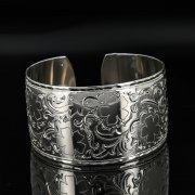 Серебряный кубачинский браслет с гравировкой арт.11114