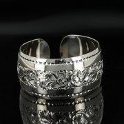 Серебряный кубачинский браслет с гравировкой арт.11115