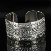 Серебряный кубачинский браслет с гравировкой арт.11116