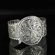 Серебряный кубачинский браслет с гравировкой арт.11117
