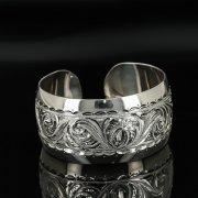 Серебряный кубачинский браслет с гравировкой арт.11118