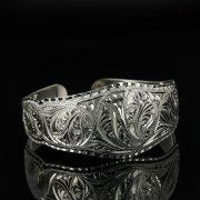 Серебряный кубачинский браслет с гравировкой арт.11128