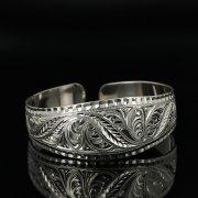Серебряный кубачинский браслет с гравировкой арт.11131
