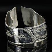 Серебряный кубачинский браслет с чернением арт.11149