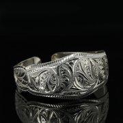Серебряный кубачинский браслет с гравировкой арт.11152