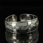 Серебряный кубачинский браслет с гравировкой арт.11155