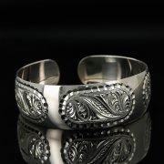 Серебряный кубачинский браслет с гравировкой арт.11156