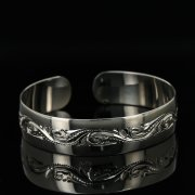 Серебряный кубачинский браслет с гравировкой арт.11164