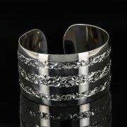 Серебряный кубачинский браслет с гравировкой арт.11178