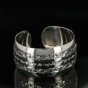 Серебряный кубачинский браслет с гравировкой арт.11179