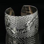 Серебряный кубачинский браслет с гравировкой арт.11180