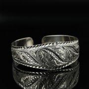 Серебряный кубачинский браслет с гравировкой арт.11184