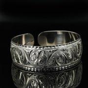 Серебряный кубачинский браслет с гравировкой арт.11185