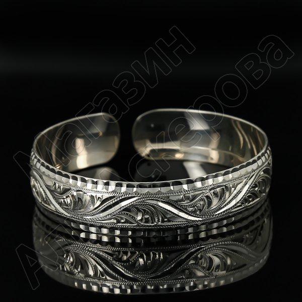 Серебряный кубачинский браслет с гравировкой арт.11188