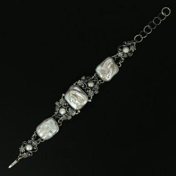Серебряный браслет (барочный жемчуг)