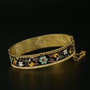 Серебряный кубачинский браслет с эмалью арт.9710