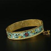 Серебряный кубачинский браслет с эмалью арт.9711