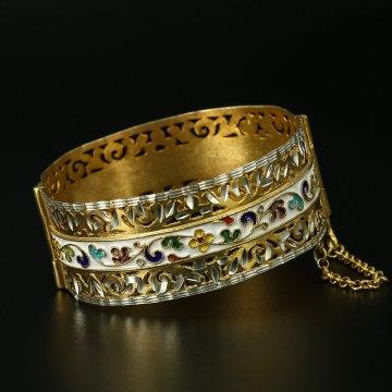 Серебряный кубачинский браслет с эмалью