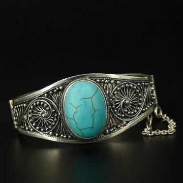 Серебряный кубачинский браслет с филигранью ручной работы