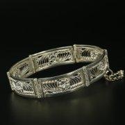Серебряный кубачинский браслет с филигранью ручной работы арт.9767
